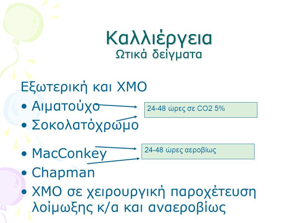 Καλλιέργεια Ωτικά δείγματα Εξωτερική και ΧΜΟ Αιματούχο Σοκολατόχρωμο MacConkey Chapman ΧΜΟ σε χειρουργική παροχέτευση λοίμωξης κ/α και αναεροβίως 24-4