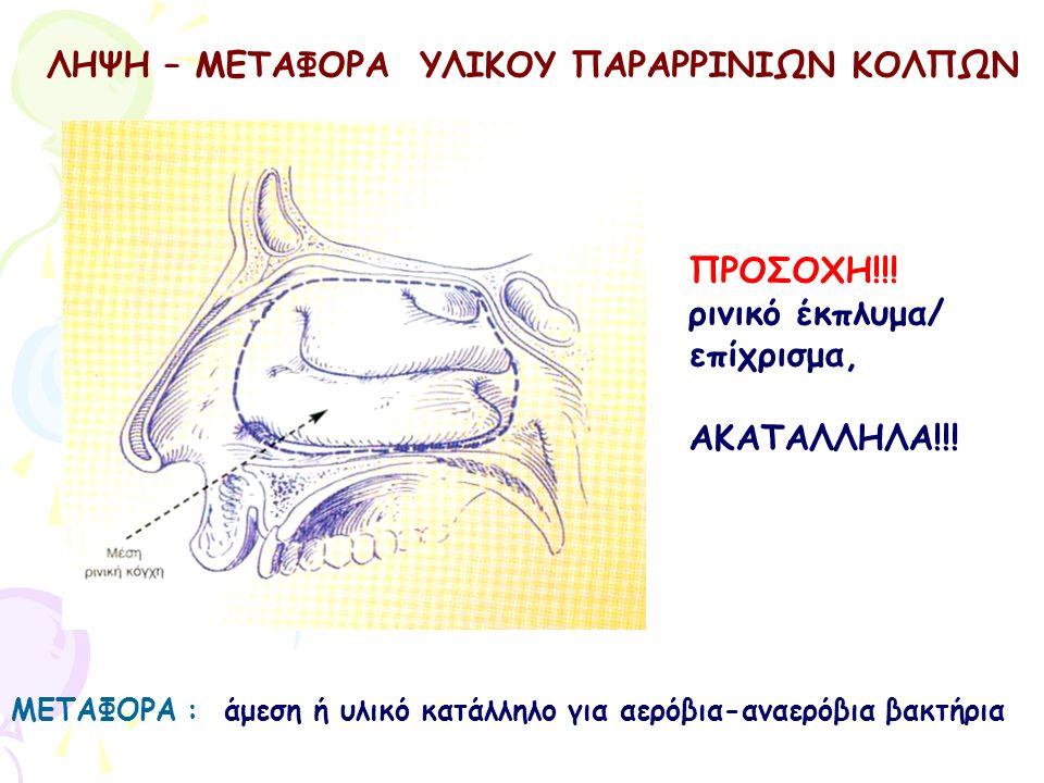 ΛΗΨΗ – ΜΕΤΑΦΟΡΑ ΥΛΙΚΟΥ ΠΑΡΑΡΡΙΝΙΩΝ ΚΟΛΠΩΝ ΜΕΤΑΦΟΡΑ : άμεση ή υλικό κατάλληλο για αερόβια-αναερόβια βακτήρια ΠΡΟΣΟΧΗ!!! ρινικό έκπλυμα/ επίχρισμα, ΑΚΑΤ