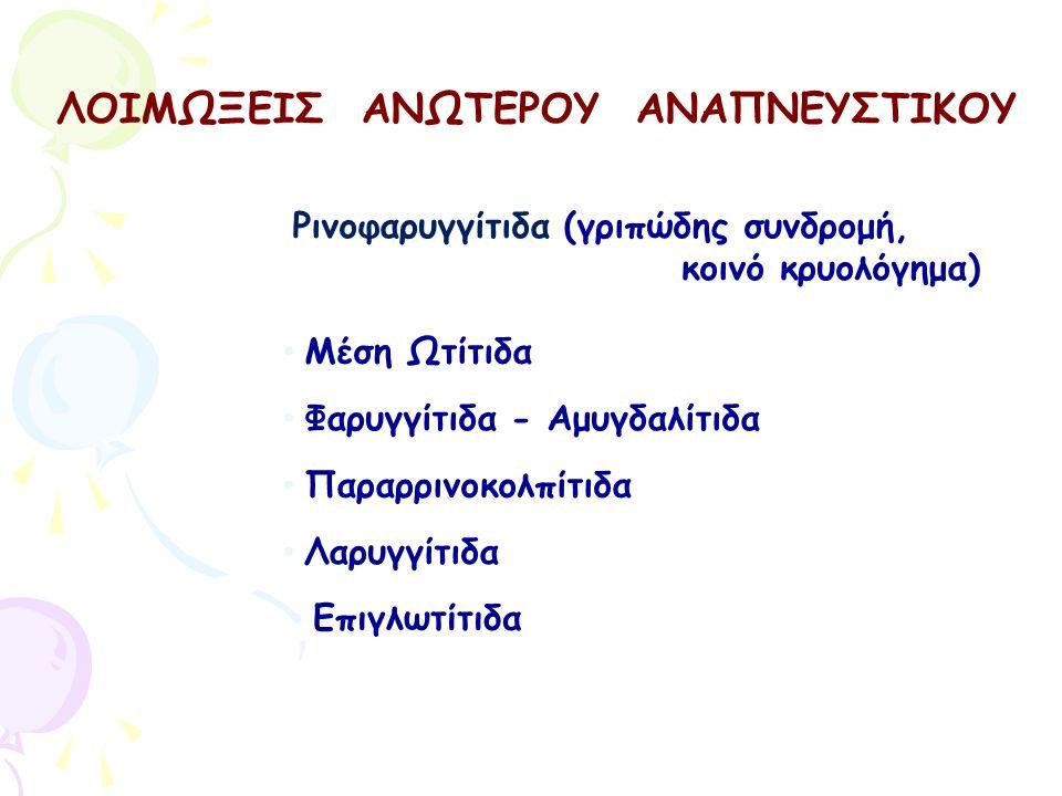 ΛΟΙΜΩΞΕΙΣ ΑΝΩΤΕΡΟΥ ΑΝΑΠΝΕΥΣΤΙΚΟΥ Φαρυγγίτιδα - Αμυγδαλίτιδα Μέση Ωτίτιδα Παραρρινοκολπίτιδα Λαρυγγίτιδα Ρινοφαρυγγίτιδα (γριπώδης συνδρομή, κοινό κρυο