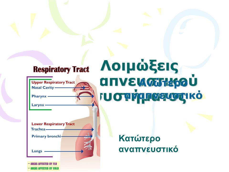 Λοιμώξεις αναπνευστικού συστήματος Ανώτερο αναπνευστικό Κατώτερο αναπνευστικό