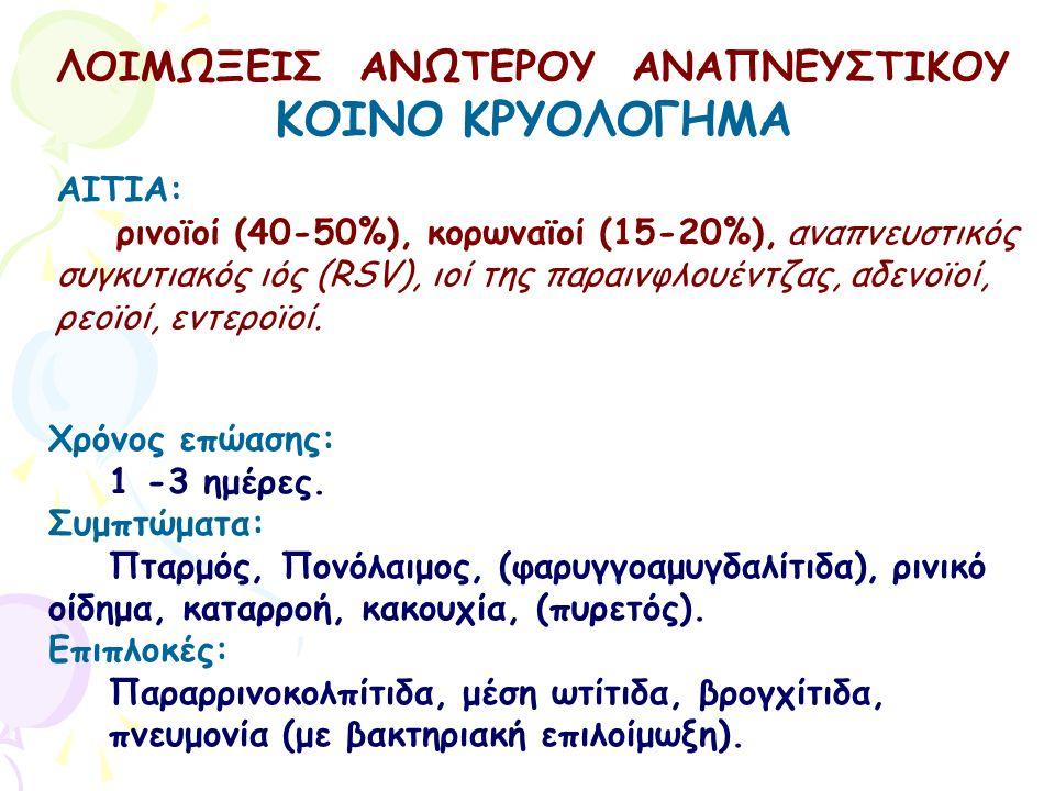 ΛΟΙΜΩΞΕΙΣ ΑΝΩΤΕΡΟΥ ΑΝΑΠΝΕΥΣΤΙΚΟΥ ΚΟΙΝΟ ΚΡΥΟΛΟΓΗΜΑ Χρόνος επώασης: 1 -3 ημέρες. Συμπτώματα: Πταρμός, Πονόλαιμος, (φαρυγγοαμυγδαλίτιδα), ρινικό οίδημα,