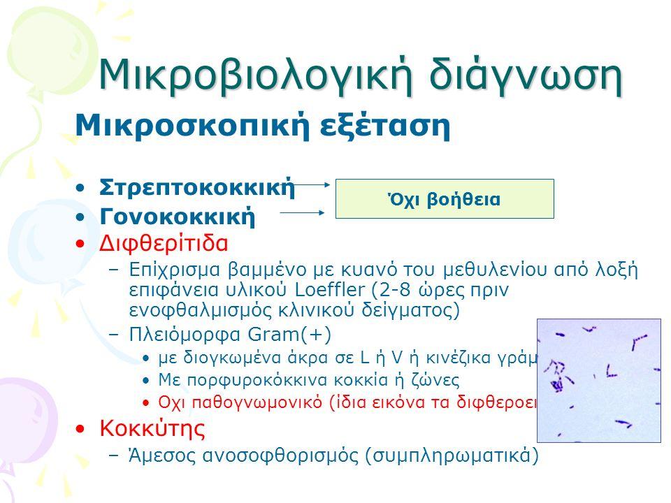 Μικροβιολογική διάγνωση Μικροσκοπική εξέταση Στρεπτοκοκκική Γονοκοκκική Διφθερίτιδα –Επίχρισμα βαμμένο με κυανό του μεθυλενίου από λοξή επιφάνεια υλικ