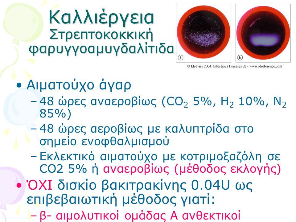 Καλλιέργεια Στρεπτοκοκκική φαρυγγοαμυγδαλίτιδα Αιματούχο άγαρ –48 ώρες αναεροβίως (CO 2 5%, Η 2 10%, Ν 2 85%) –48 ώρες αεροβίως με καλυπτρίδα στο σημε