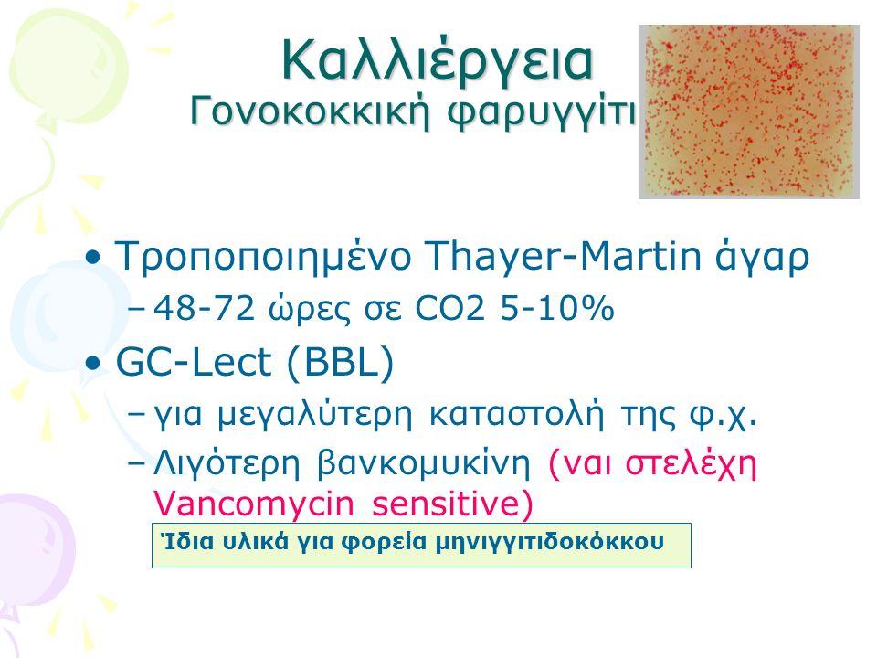 Καλλιέργεια Γονοκοκκική φαρυγγίτιδα Τροποποιημένο Thayer-Martin άγαρ –48-72 ώρες σε CO2 5-10% GC-Lect (BBL) –για μεγαλύτερη καταστολή της φ.χ. –Λιγότε
