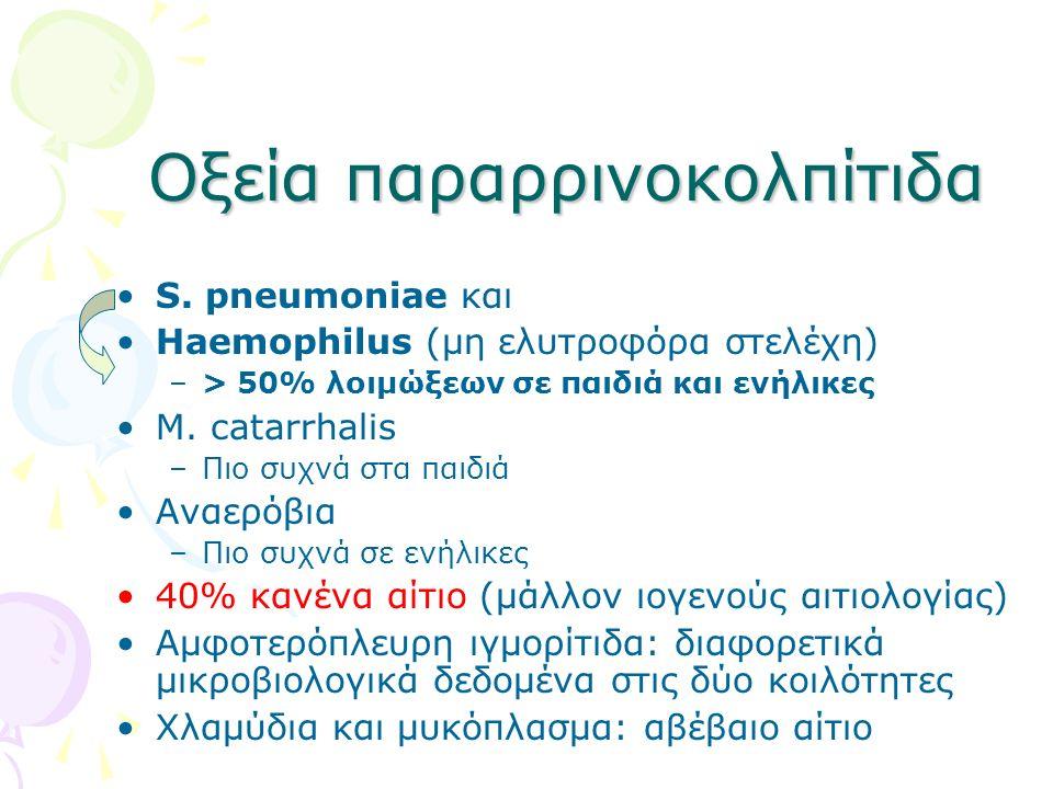 Οξεία παραρρινοκολπίτιδα S. pneumoniae και Haemophilus (μη ελυτροφόρα στελέχη) –> 50% λοιμώξεων σε παιδιά και ενήλικες M. catarrhalis –Πιο συχνά στα π