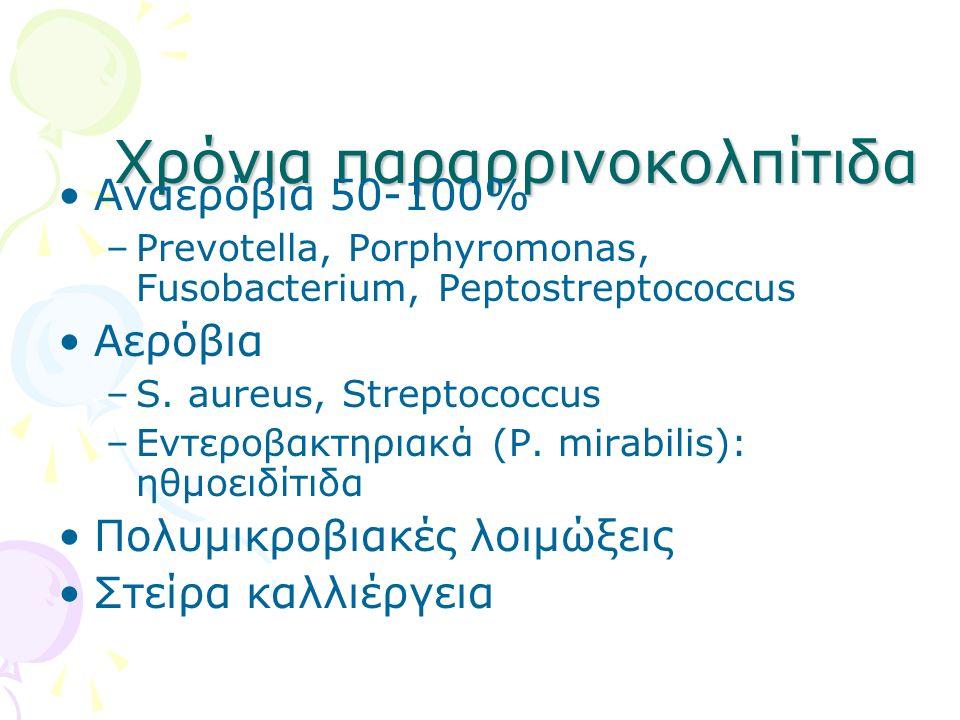 Χρόνια παραρρινοκολπίτιδα Αναερόβια 50-100% –Prevotella, Porphyromonas, Fusobacterium, Peptostreptococcus Αερόβια –S. aureus, Streptococcus –Eντεροβακ