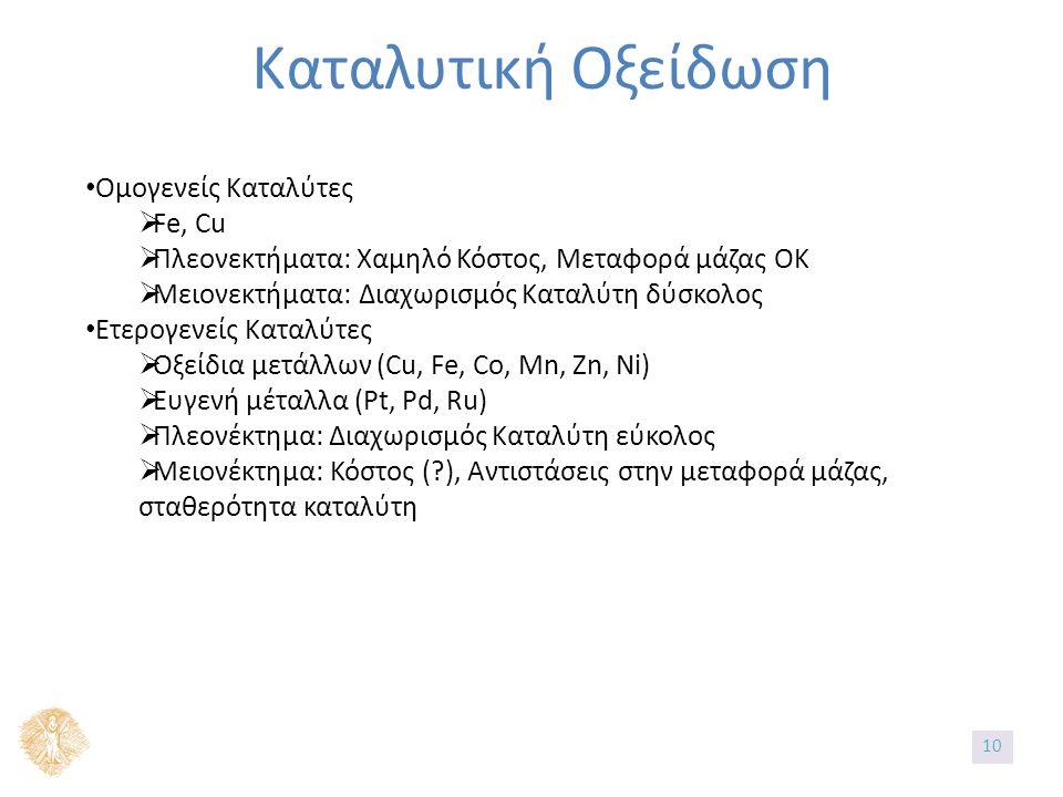 Καταλυτική Οξείδωση Ομογενείς Καταλύτες  Fe, Cu  Πλεονεκτήματα: Χαμηλό Κόστος, Μεταφορά μάζας ΟΚ  Μειονεκτήματα: Διαχωρισμός Καταλύτη δύσκολος Ετερογενείς Καταλύτες  Οξείδια μετάλλων (Cu, Fe, Co, Mn, Zn, Ni)  Ευγενή μέταλλα (Pt, Pd, Ru)  Πλεονέκτημα: Διαχωρισμός Καταλύτη εύκολος  Μειονέκτημα: Κόστος ( ), Αντιστάσεις στην μεταφορά μάζας, σταθερότητα καταλύτη 10