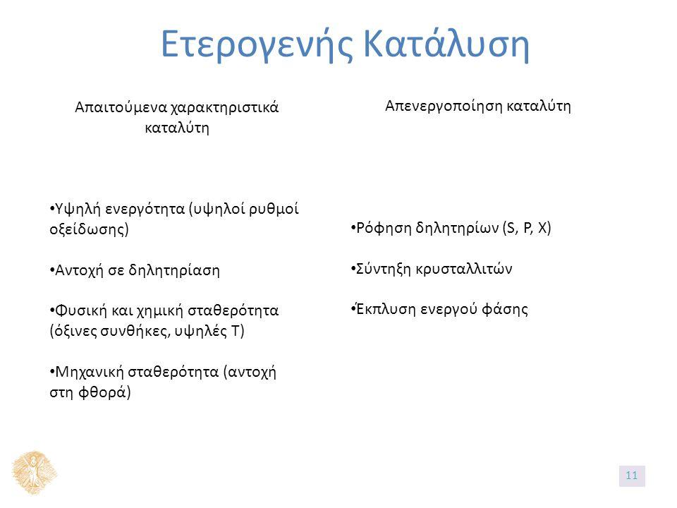 Ετερογενής Κατάλυση Απαιτούμενα χαρακτηριστικά καταλύτη Υψηλή ενεργότητα (υψηλοί ρυθμοί οξείδωσης) Αντοχή σε δηλητηρίαση Φυσική και χημική σταθερότητα (όξινες συνθήκες, υψηλές Τ) Μηχανική σταθερότητα (αντοχή στη φθορά) Απενεργοποίηση καταλύτη Ρόφηση δηλητηρίων (S, P, X) Σύντηξη κρυσταλλιτών Έκπλυση ενεργού φάσης 11