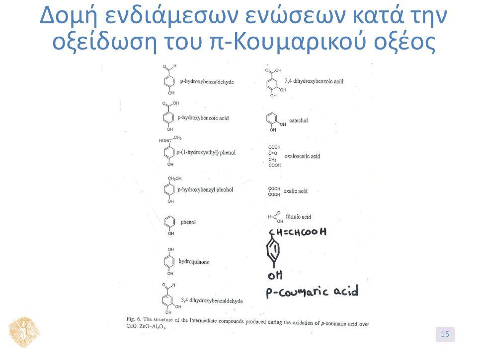 Δομή ενδιάμεσων ενώσεων κατά την οξείδωση του π-Κουμαρικού οξέος 15