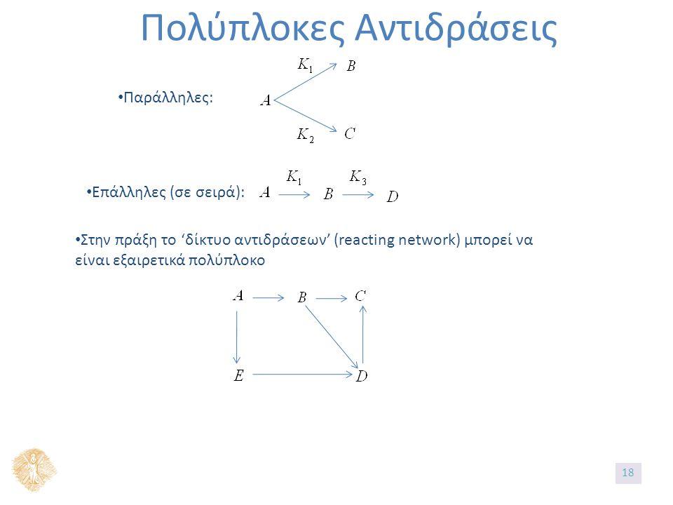 Πολύπλοκες Αντιδράσεις Παράλληλες: Επάλληλες (σε σειρά): Στην πράξη το 'δίκτυο αντιδράσεων' (reacting network) μπορεί να είναι εξαιρετικά πολύπλοκο 18