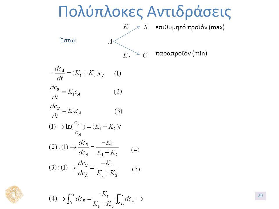 Πολύπλοκες Αντιδράσεις Έστω: επιθυμητό προϊόν (max) παραπροϊόν (min) 20