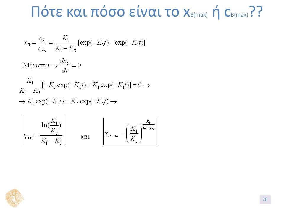 Πότε και πόσο είναι το x B(max) ή c B(max) και 28