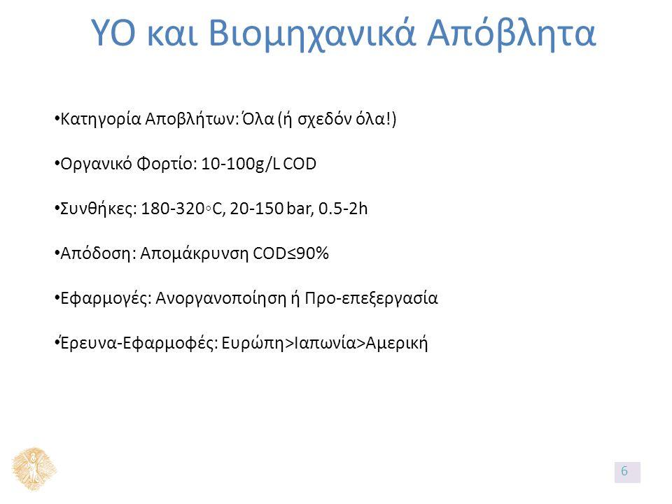ΥΟ και Βιομηχανικά Απόβλητα Κατηγορία Αποβλήτων: Όλα (ή σχεδόν όλα!) Οργανικό Φορτίο: 10-100g/L COD Συνθήκες: 180-320◦C, 20-150 bar, 0.5-2h Απόδοση: Απομάκρυνση COD≤90% Εφαρμογές: Ανοργανοποίηση ή Προ-επεξεργασία Έρευνα-Εφαρμοφές: Ευρώπη>Ιαπωνία>Αμερική 6
