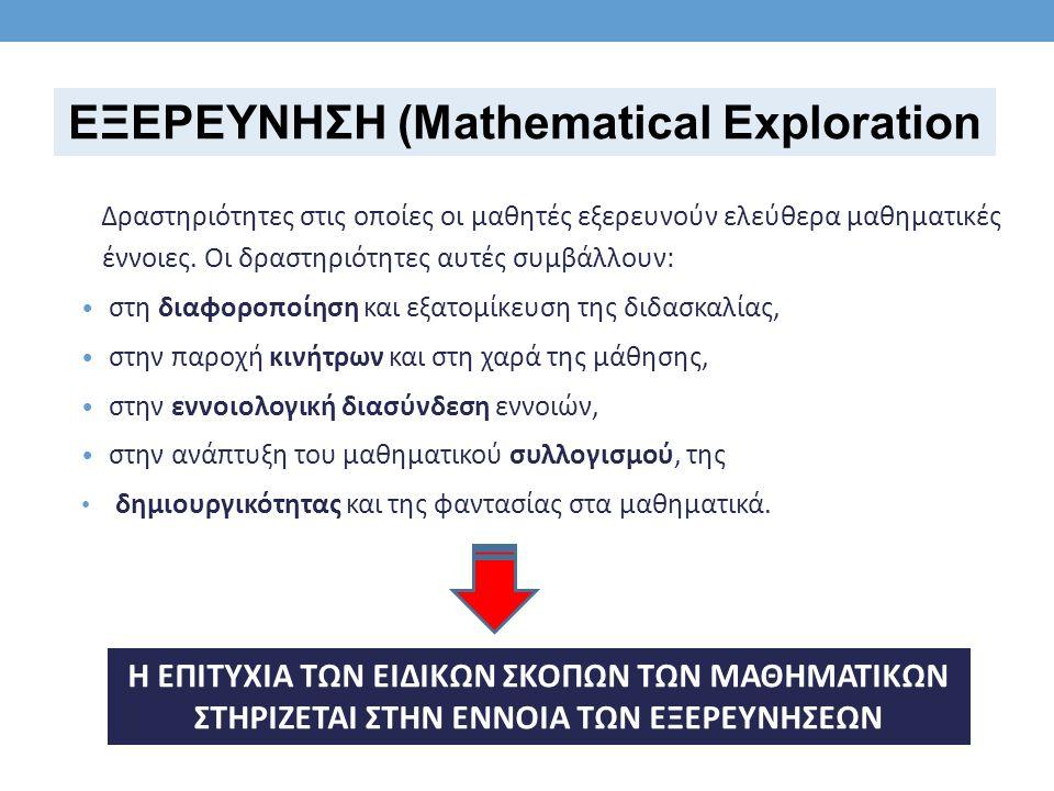 Δραστηριότητες στις οποίες οι μαθητές εξερευνούν ελεύθερα μαθηματικές έννοιες.