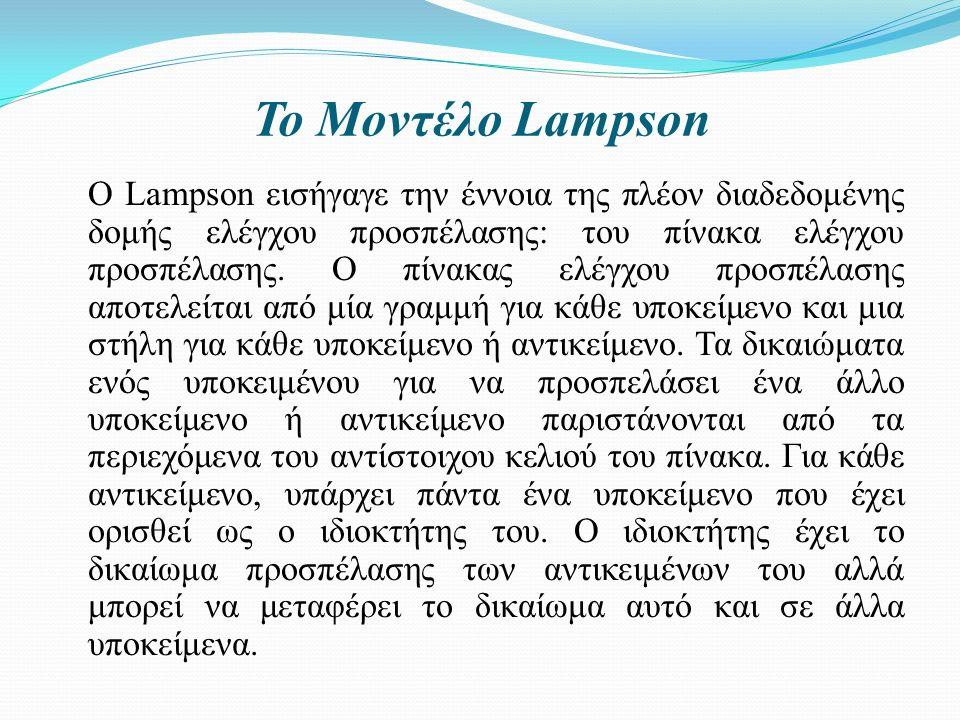 Το Μοντέλο Lampson O Lampson εισήγαγε την έννοια της πλέον διαδεδομένης δομής ελέγχου προσπέλασης: του πίνακα ελέγχου προσπέλασης.