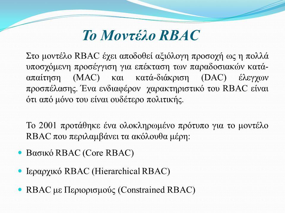 Το Μοντέλο RBAC Στο μοντέλο RBAC έχει αποδοθεί αξιόλογη προσοχή ως η πολλά υποσχόμενη προσέγγιση για επέκταση των παραδοσιακών κατά- απαίτηση (MAC) και κατά-διάκριση (DAC) έλεγχων προσπέλασης.