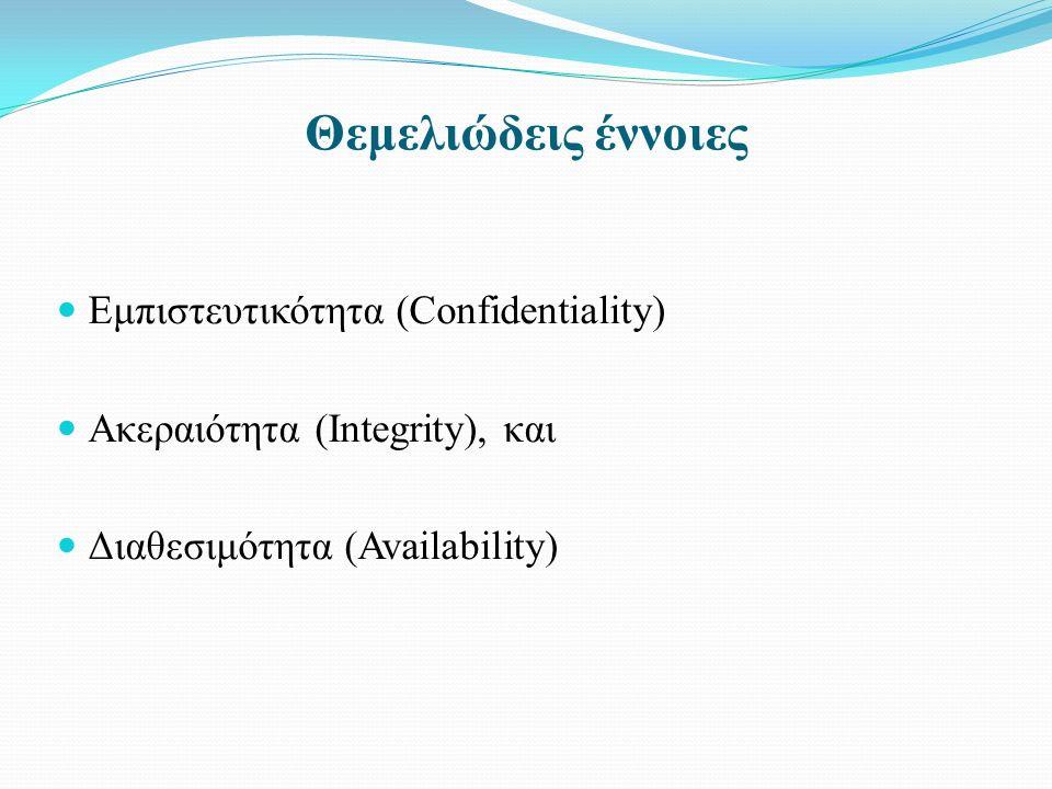 Θεμελιώδεις έννοιες Εμπιστευτικότητα (Confidentiality) Ακεραιότητα (Integrity), και Διαθεσιμότητα (Availability)