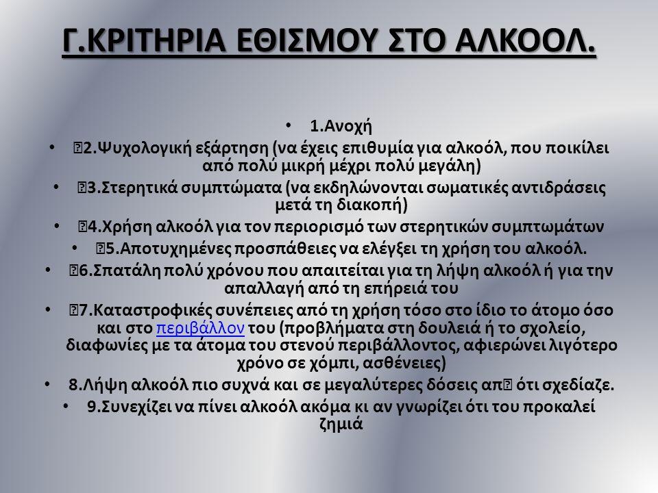 Γ.ΚΡΙΤΗΡΙΑ ΕΘΙΣΜΟΥ ΣΤΟ ΑΛΚΟΟΛ.