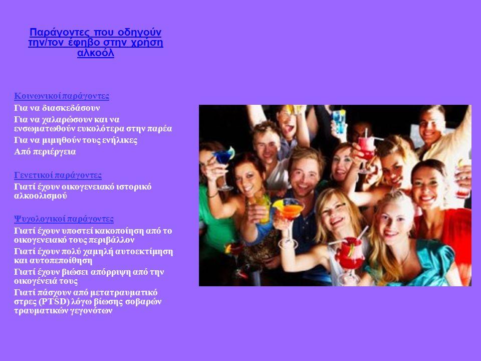 Παράγοντες που οδηγούν την/τον έφηβο στην χρήση αλκοόλ Κοινωνικοί παράγοντες Για να διασκεδάσουν Για να χαλαρώσουν και να ενσωματωθούν ευκολότερα στην παρέα Για να μιμηθούν τους ενήλικες Από περιέργεια Γενετικοί παράγοντες Γιατί έχουν οικογενειακό ιστορικό αλκοολισμού Ψυχολογικοί παράγοντες Γιατί έχουν υποστεί κακοποίηση από το οικογενειακό τους περιβάλλον Γιατί έχουν πολύ χαμηλή αυτοεκτίμηση και αυτοπεποίθηση Γιατί έχουν βιώσει απόρριψη από την οικογένειά τους Γιατί πάσχουν από μετατραυματικό στρες (PTSD) λόγω βίωσης σοβαρών τραυματικών γεγονότων