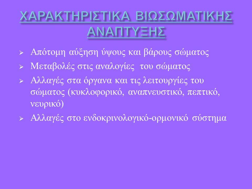  Απότομη αύξηση ύψους και βάρους σώματος  Μεταβολές στις αναλογίες του σώματος  Αλλαγές στα όργανα και τις λειτουργίες του σώματος ( κυκλοφορικό, αναπνευστικό, πεπτικό, νευρικό )  Αλλαγές στο ενδοκρινολογικό - ορμονικό σύστημα