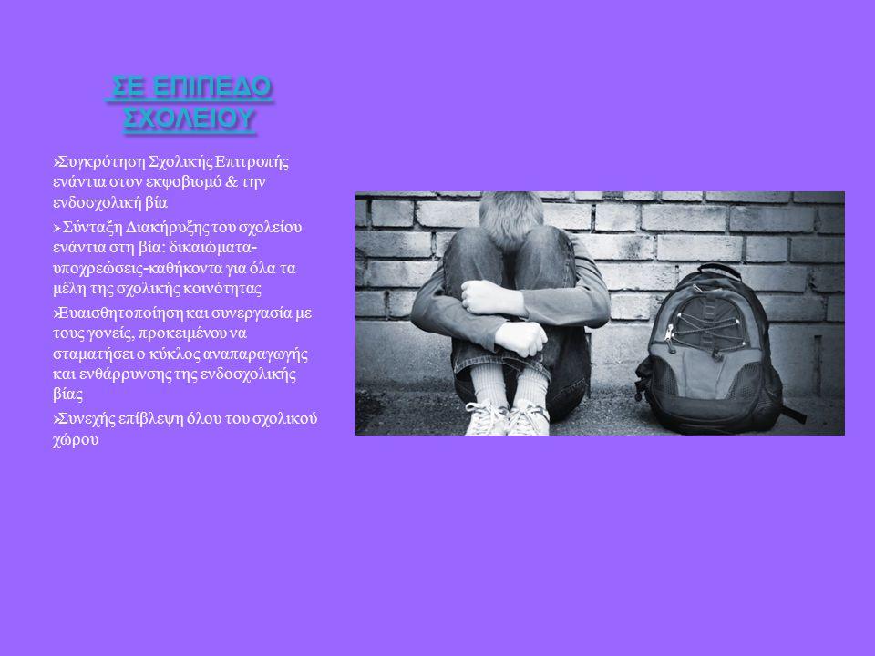 ΣΕ ΕΠΙΠΕΔΟ ΣΧΟΛΕΙΟΥ ΣΕ ΕΠΙΠΕΔΟ ΣΧΟΛΕΙΟΥ  Συγκρότηση Σχολικής Επιτροπής ενάντια στον εκφοβισμό & την ενδοσχολική βία  Σύνταξη Διακήρυξης του σχολείου ενάντια στη βία : δικαιώματα - υποχρεώσεις - καθήκοντα για όλα τα μέλη της σχολικής κοινότητας  Ευαισθητοποίηση και συνεργασία με τους γονείς, προκειμένου να σταματήσει ο κύκλος αναπαραγωγής και ενθάρρυνσης της ενδοσχολικής βίας  Συνεχής επίβλεψη όλου του σχολικού χώρου