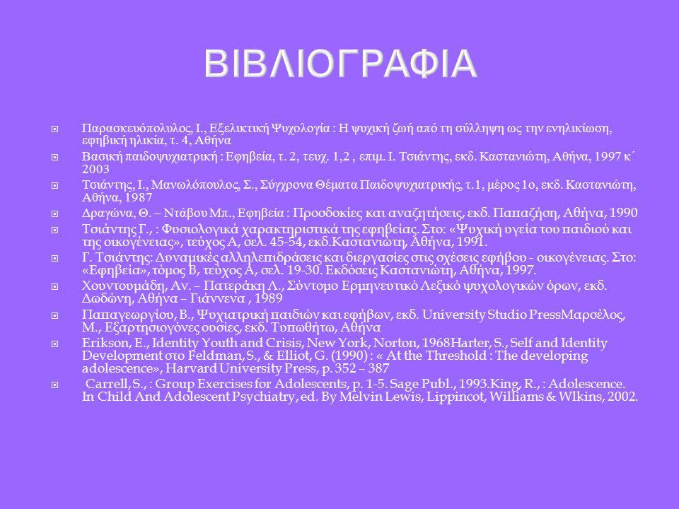 ΒΙΒΛΙΟΓΡΑΦΙΑ  Παρασκευόπολυλος, Ι., Εξελικτική Ψυχολογία : Η ψυχική ζωή από τη σύλληψη ως την ενηλικίωση, εφηβική ηλικία, τ.