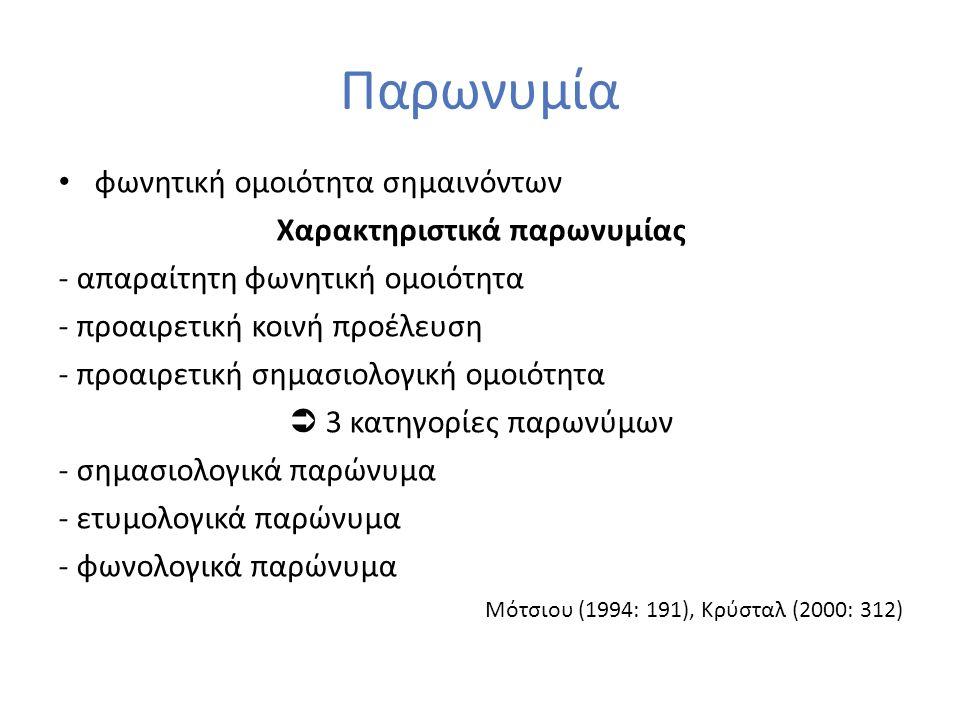 Παρωνυμία φωνητική ομοιότητα σημαινόντων Χαρακτηριστικά παρωνυμίας - απαραίτητη φωνητική ομοιότητα - προαιρετική κοινή προέλευση - προαιρετική σημασιο