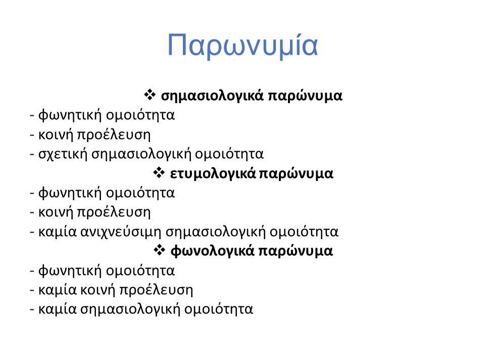 Παρωνυμία  σημασιολογικά παρώνυμα - φωνητική ομοιότητα - κοινή προέλευση - σχετική σημασιολογική ομοιότητα  ετυμολογικά παρώνυμα - φωνητική ομοιότητ