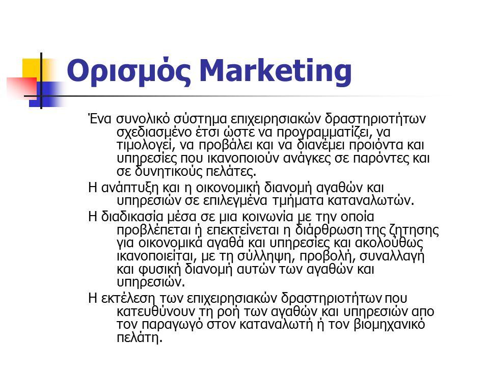Ορισμός Marketing Ένα συνολικό σύστημα επιχειρησιακών δραστηριοτήτων σχεδιασμένο έτσι ώστε να προγραμματίζει, να τιμολογεί, να προβάλει και να διανέμει προιόντα και υπηρεσίες που ικανοποιούν ανάγκες σε παρόντες και σε δυνητικούς πελάτες.