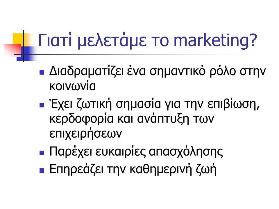 Γιατί μελετάμε το marketing? Διαδραματίζει ένα σημαντικό ρόλο στην κοινωνία Έχει ζωτική σημασία για την επιβίωση, κερδοφορία και ανάπτυξη των επιχειρή