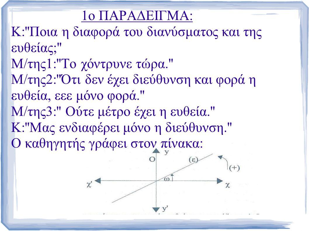 1ο ΠΑΡΑΔΕΙΓΜΑ: Κ: Ποια η διαφορά του διανύσματος και της ευθείας; Μ/της1: Το χόντρυνε τώρα. Μ/της2: Ότι δεν έχει διεύθυνση και φορά η ευθεία, εεε μόνο φορά. Μ/της3: Ούτε μέτρο έχει η ευθεία. Κ: Μας ενδιαφέρει μόνο η διεύθυνση. Ο καθηγητής γράφει στον πίνακα: