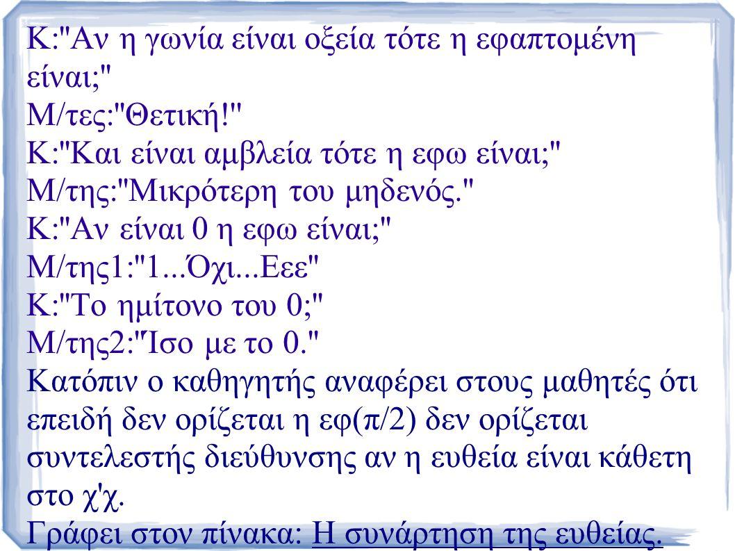 Κ: Αν η γωνία είναι οξεία τότε η εφαπτομένη είναι; Μ/τες: Θετική! Κ: Και είναι αμβλεία τότε η εφω είναι; Μ/της: Μικρότερη του μηδενός. Κ: Αν είναι 0 η εφω είναι; Μ/της1: 1...Όχι...Εεε Κ: Το ημίτονο του 0; Μ/της2: Ίσο με το 0. Κατόπιν ο καθηγητής αναφέρει στους μαθητές ότι επειδή δεν ορίζεται η εφ(π/2) δεν ορίζεται συντελεστής διεύθυνσης αν η ευθεία είναι κάθετη στο χ χ.