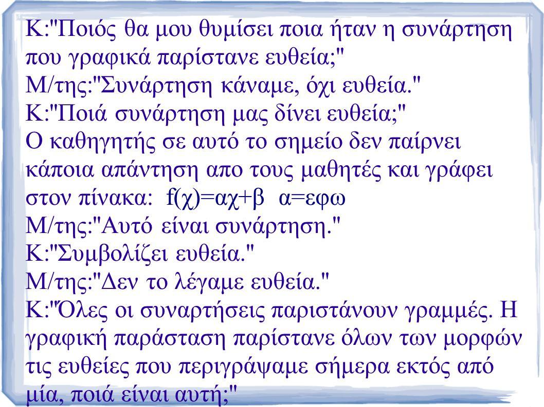 Κ: Ποιός θα μου θυμίσει ποια ήταν η συνάρτηση που γραφικά παρίστανε ευθεία; Μ/της: Συνάρτηση κάναμε, όχι ευθεία. Κ: Ποιά συνάρτηση μας δίνει ευθεία; Ο καθηγητής σε αυτό το σημείο δεν παίρνει κάποια απάντηση απο τους μαθητές και γράφει στον πίνακα: f(χ)=αχ+β α=εφω Μ/της: Αυτό είναι συνάρτηση. Κ: Συμβολίζει ευθεία. Μ/της: Δεν το λέγαμε ευθεία. Κ: Όλες οι συναρτήσεις παριστάνουν γραμμές.