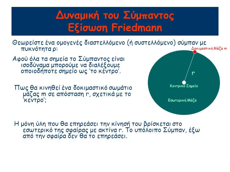 Δυναμική του Σύμπαντος Εξίσωση Friedmann Θεωρείστε ένα ομογενές διαστελλόμενο (ή συστελλόμενο) σύμπαν με πυκνότητα ρ: r Αφού όλα τα σημεία το Σύμπαντος είναι ισοδύναμα μπορούμε να διαλέξουμε οποιοδήποτε σημείο ως 'το κέντρο'.