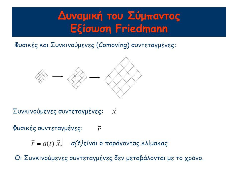 Δυναμική του Σύμπαντος Εξίσωση Friedmann Φυσικές και Συνκινούμενες (Comoving) συντεταγμένες: Συνκινούμενες συντεταγμένες: Φυσικές συντεταγμένες: a(t) είναι ο παράγοντας κλίμακας Οι Συνκινούμενες συντεταγμένες δεν μεταβάλονται με το χρόνο.