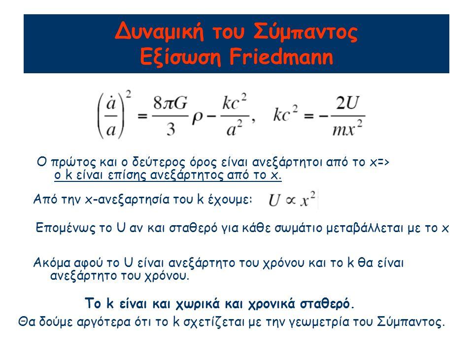 Δυναμική του Σύμπαντος Εξίσωση Friedmann Ο πρώτος και ο δεύτερος όρος είναι ανεξάρτητοι από το x=> o k είναι επίσης ανεξάρτητος από το x.