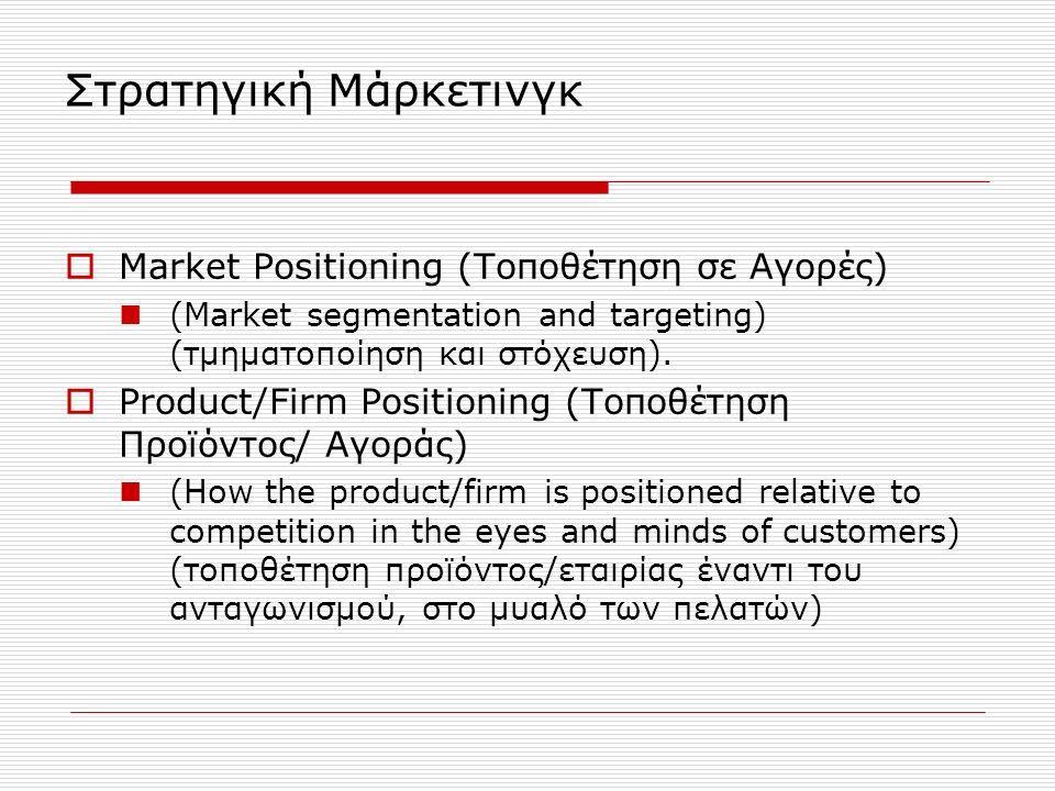 Στρατηγική Μάρκετινγκ  Market Positioning (Τοποθέτηση σε Αγορές) (Market segmentation and targeting) (τμηματοποίηση και στόχευση).