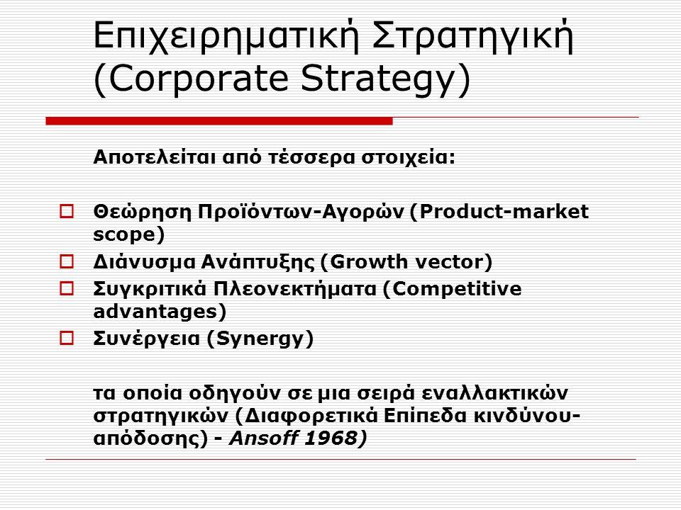 Επιχειρηματική Στρατηγική (Corporate Strategy) Αποτελείται από τέσσερα στοιχεία:  Θεώρηση Προϊόντων-Αγορών (Product-market scope)  Διάνυσμα Ανάπτυξης (Growth vector)  Συγκριτικά Πλεονεκτήματα (Competitive advantages)  Συνέργεια (Synergy) τα οποία οδηγούν σε μια σειρά εναλλακτικών στρατηγικών (Διαφορετικά Επίπεδα κινδύνου- απόδοσης) - Ansoff 1968)