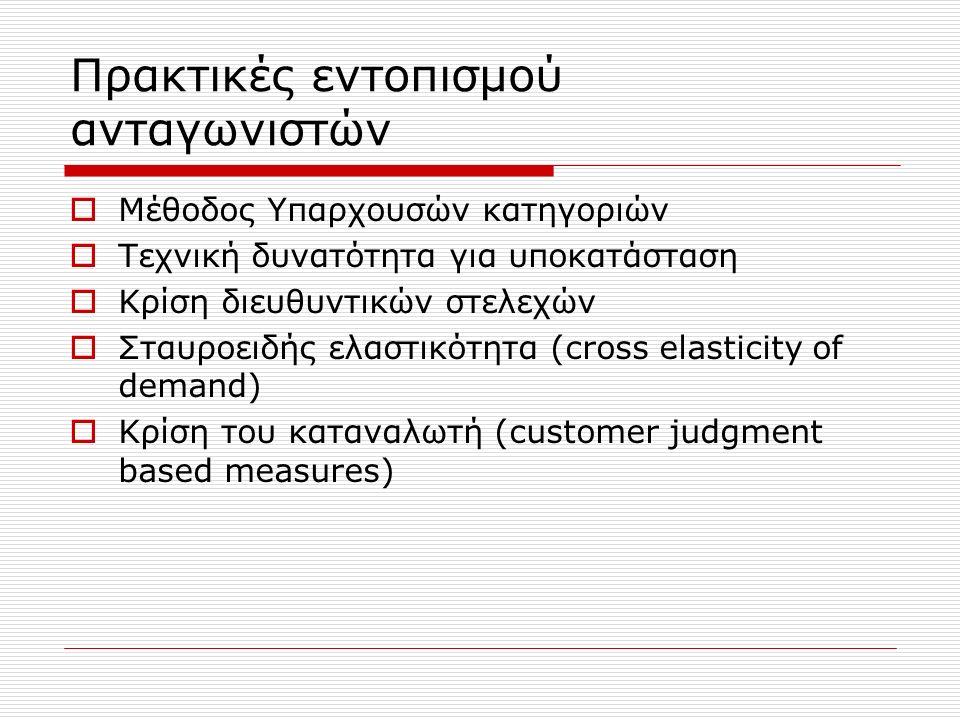 Πρακτικές εντοπισμού ανταγωνιστών  Μέθοδος Υπαρχουσών κατηγοριών  Τεχνική δυνατότητα για υποκατάσταση  Κρίση διευθυντικών στελεχών  Σταυροειδής ελαστικότητα (cross elasticity of demand)  Κρίση του καταναλωτή (customer judgment based measures)