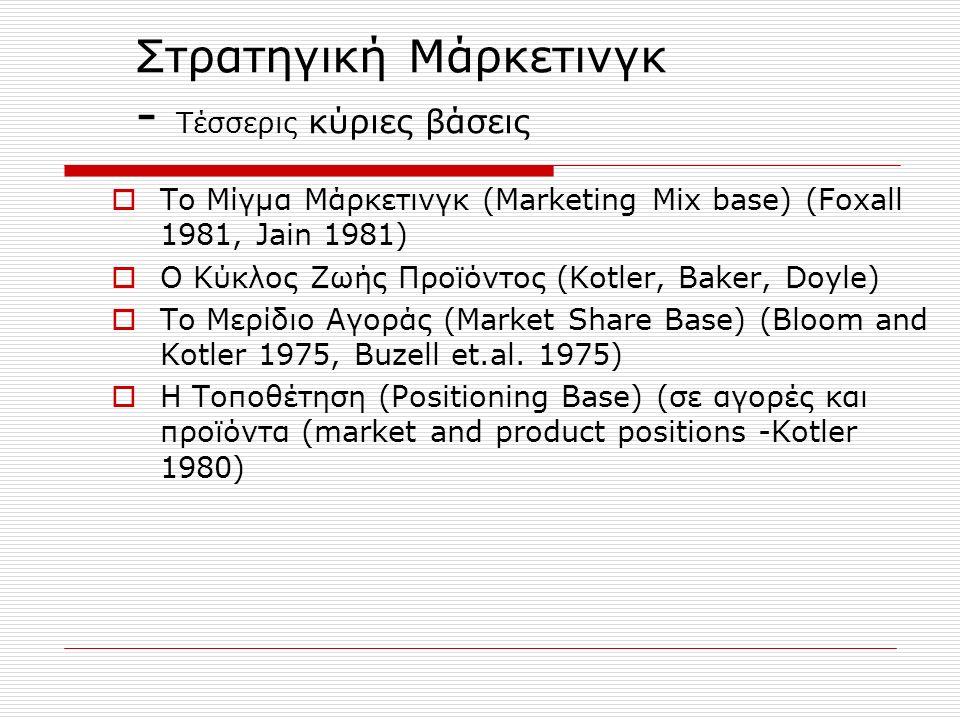 Στρατηγική Διαφοροποίησης Προϊόντος  Ανίχνευση αναγκών (προσδιορίσιμο, προσβάσιμο, ομοιογενές, κερδοφόρο)  Ανίχνευση συνθηκών ανταγωνισμού  Προσδιορισμός ανταγωνιστικού πλεονεκτήματος (market positioning)  Προσδιορισμός δυνητικής ζήτησης  Προσδιορισμός προϋπολογισμού υλοποίησης (χρηματοδοτικές ανάγκες)  Συμβατότητα με δομή και στρατηγικές  Συνέχιση ή απόρριψη της στρατηγικής