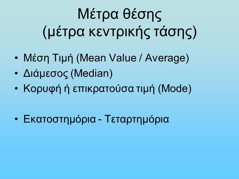 Μέτρα θέσης (μέτρα κεντρικής τάσης) Μέση Τιμή (Mean Value / Average) Διάμεσος (Median) Κορυφή ή επικρατούσα τιμή (Mode) Εκατοστημόρια - Τεταρτημόρια