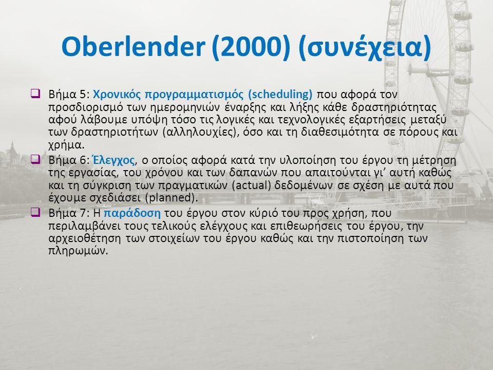 Oberlender (2000) (συνέχεια)  Βήμα 5: Χρονικός προγραμματισμός (scheduling) που αφορά τον προσδιορισμό των ημερομηνιών έναρξης και λήξης κάθε δραστηριότητας αφού λάβουμε υπόψη τόσο τις λογικές και τεχνολογικές εξαρτήσεις μεταξύ των δραστηριοτήτων (αλληλουχίες), όσο και τη διαθεσιμότητα σε πόρους και χρήμα.
