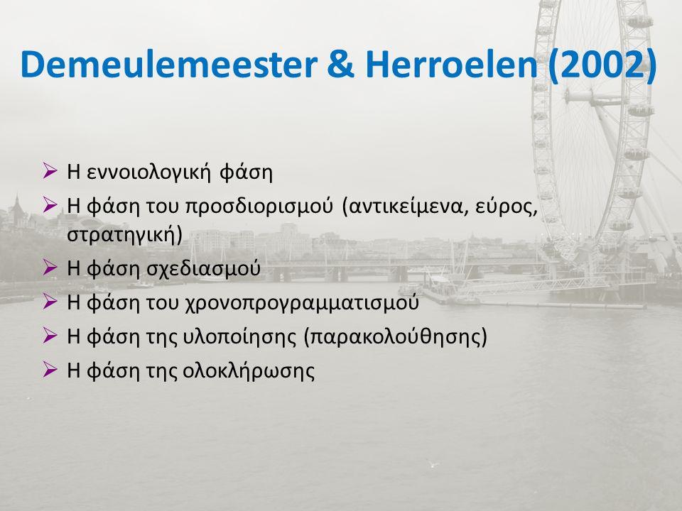Demeulemeester & Herroelen (2002)  Η εννοιολογική φάση  Η φάση του προσδιορισμού (αντικείμενα, εύρος, στρατηγική)  Η φάση σχεδιασμού  Η φάση του χρονοπρογραμματισμού  Η φάση της υλοποίησης (παρακολούθησης)  Η φάση της ολοκλήρωσης