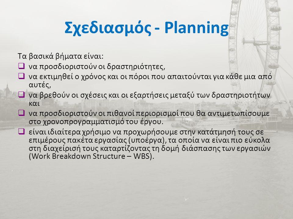 Σχεδιασμός - Planning Τα βασικά βήματα είναι:  να προσδιοριστούν οι δραστηριότητες,  να εκτιμηθεί ο χρόνος και οι πόροι που απαιτούνται για κάθε μια από αυτές,  να βρεθούν οι σχέσεις και οι εξαρτήσεις μεταξύ των δραστηριοτήτων και  να προσδιοριστούν οι πιθανοί περιορισμοί που θα αντιμετωπίσουμε στο χρονοπρογραμματισμό του έργου.