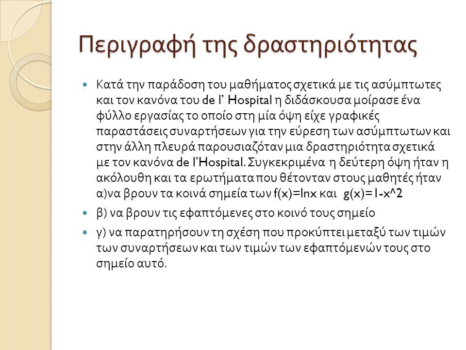 Περιγραφή της δραστηριότητας Κατά την παράδοση του μαθήματος σχετικά με τις ασύμπτωτες και τον κανόνα του de l' Hospital η διδάσκουσα μοίρασε ένα φύλλ