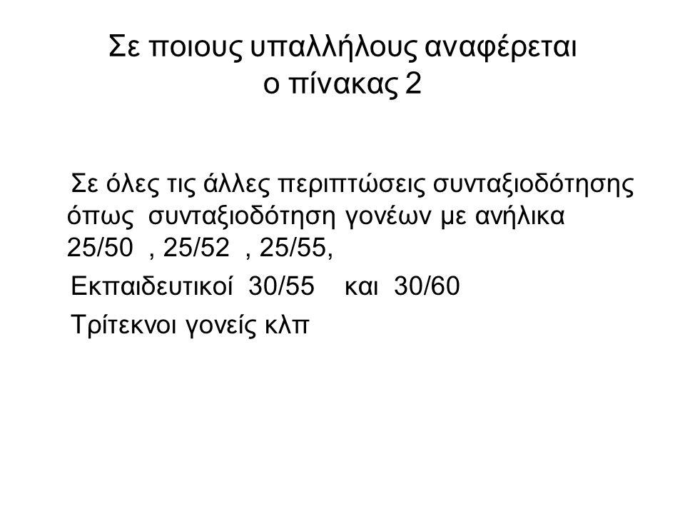Σε ποιους υπαλλήλους αναφέρεται ο πίνακας 2 Σε όλες τις άλλες περιπτώσεις συνταξιοδότησης όπως συνταξιοδότηση γονέων με ανήλικα 25/50, 25/52, 25/55, Ε