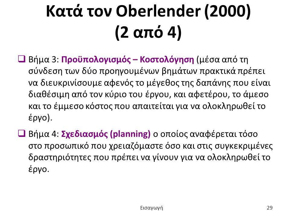 Κατά τον Oberlender (2000) (2 από 4)  Βήμα 3: Προϋπολογισμός – Κοστολόγηση (μέσα από τη σύνδεση των δύο προηγουμένων βημάτων πρακτικά πρέπει να διευκρινίσουμε αφενός το μέγεθος της δαπάνης που είναι διαθέσιμη από τον κύριο του έργου, και αφετέρου, το άμεσο και το έμμεσο κόστος που απαιτείται για να ολοκληρωθεί το έργο).