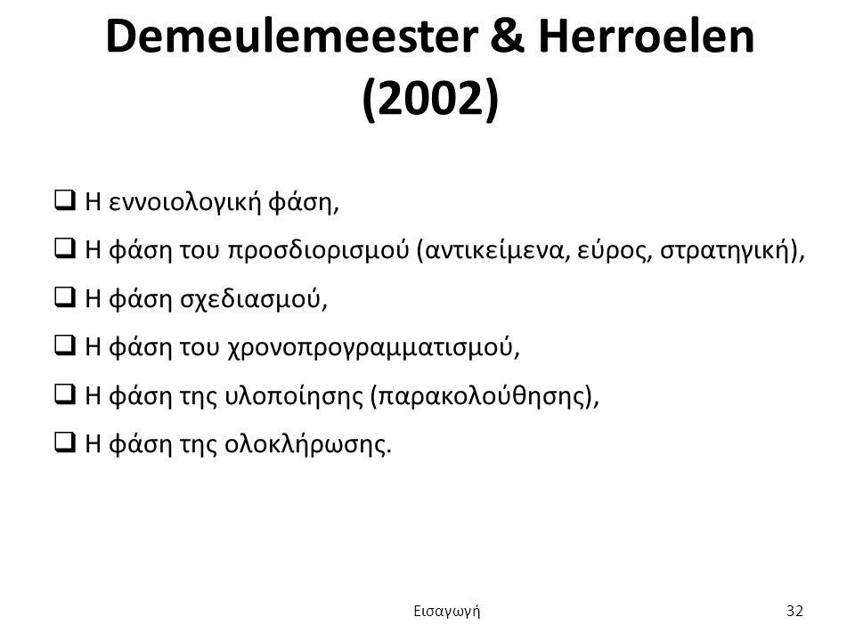 Demeulemeester & Herroelen (2002)  Η εννοιολογική φάση,  Η φάση του προσδιορισμού (αντικείμενα, εύρος, στρατηγική),  Η φάση σχεδιασμού,  Η φάση του χρονοπρογραμματισμού,  Η φάση της υλοποίησης (παρακολούθησης),  Η φάση της ολοκλήρωσης.