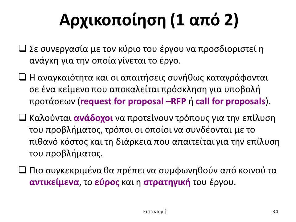 Αρχικοποίηση (1 από 2)  Σε συνεργασία με τον κύριο του έργου να προσδιοριστεί η ανάγκη για την οποία γίνεται το έργο.