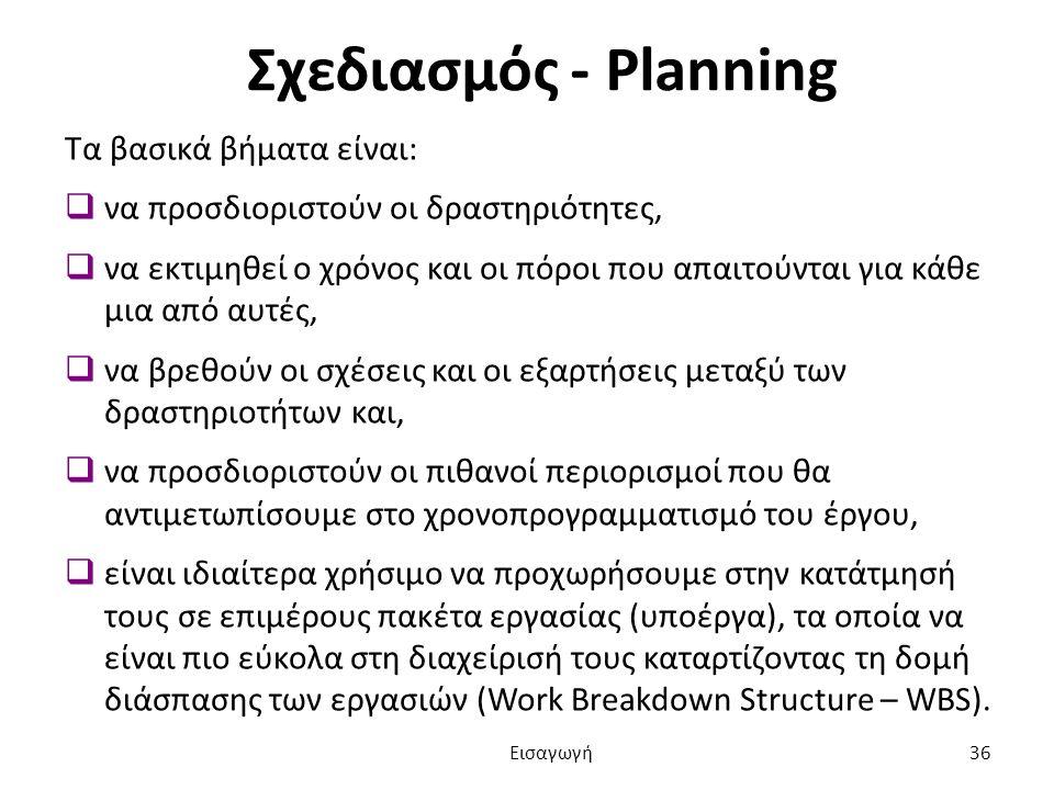 Σχεδιασμός - Planning Τα βασικά βήματα είναι:  να προσδιοριστούν οι δραστηριότητες,  να εκτιμηθεί ο χρόνος και οι πόροι που απαιτούνται για κάθε μια από αυτές,  να βρεθούν οι σχέσεις και οι εξαρτήσεις μεταξύ των δραστηριοτήτων και,  να προσδιοριστούν οι πιθανοί περιορισμοί που θα αντιμετωπίσουμε στο χρονοπρογραμματισμό του έργου,  είναι ιδιαίτερα χρήσιμο να προχωρήσουμε στην κατάτμησή τους σε επιμέρους πακέτα εργασίας (υποέργα), τα οποία να είναι πιο εύκολα στη διαχείρισή τους καταρτίζοντας τη δομή διάσπασης των εργασιών (Work Breakdown Structure – WBS).